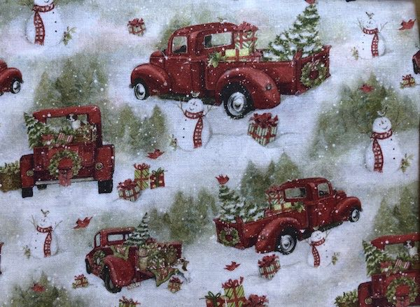 red truck Christmas adjustable face mask