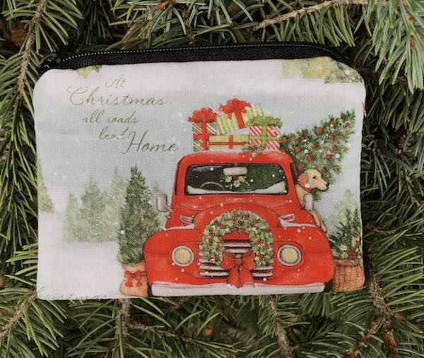 Red truck Christmas coin purse