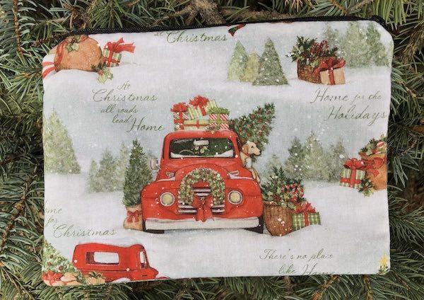 red truck Christmas zippered reusable gift bag
