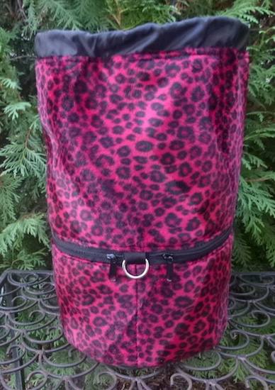red leopard faux fur knitting bag