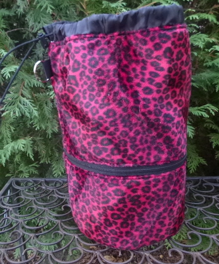 red leopard faux fur knitting project bag