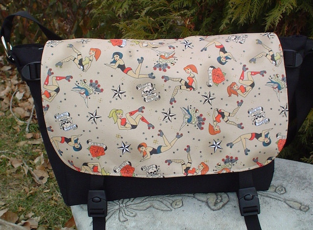 retro roller derby girl messenger bag
