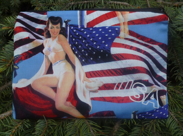 retro pin ups with American flags zippered bag
