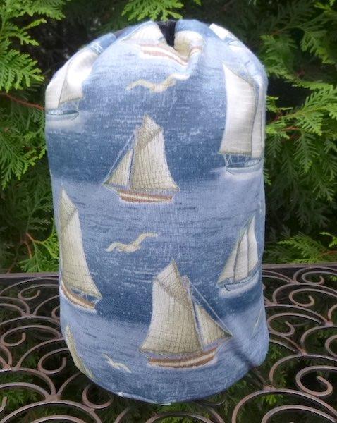 yachts drawstring bag for knitting or game tiles