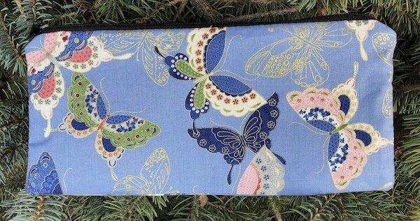Japanese butterflies zippered pouch for pencils knitting supplies