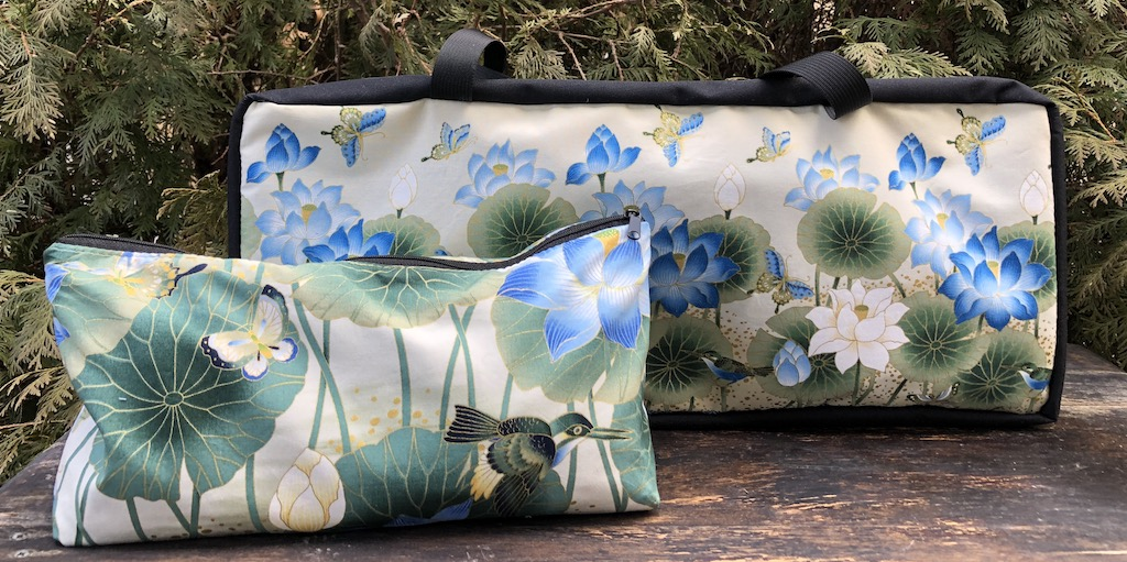 Japanese flowers, birds, butterflies soft sided tote for mahjong racks with bag for tiles
