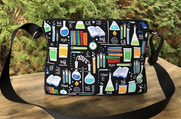 Science zippered tote bag