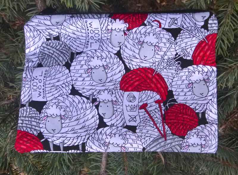 Skeins of sheep knitting notion pouch gift for knitter