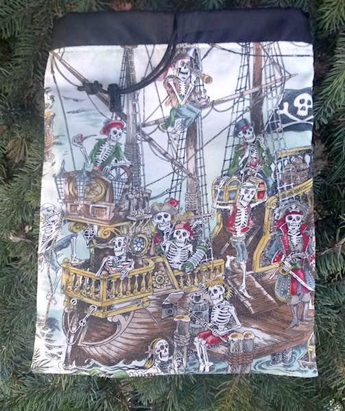 Skeleton pirates flat drawstring bagfor rummikub or scrabble tiles