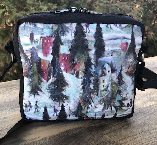 ski town winter shoulder bag purse