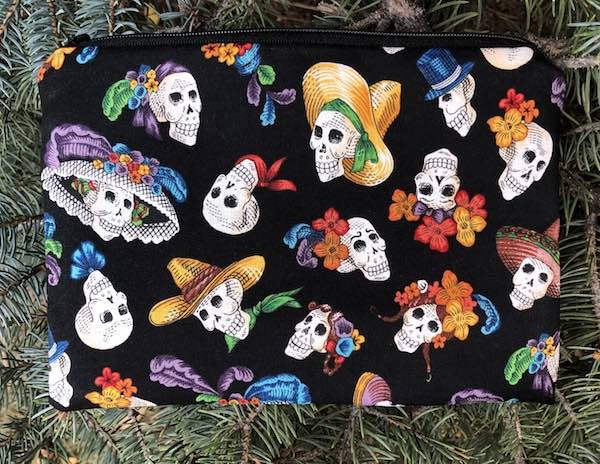 Day of the Dead zippered accessory makeup bag