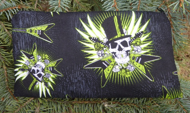 skulls and guitars pencil case