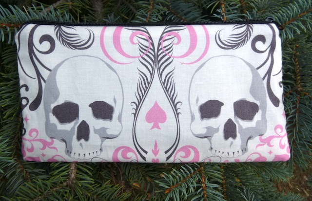 skulls on pink pencil case