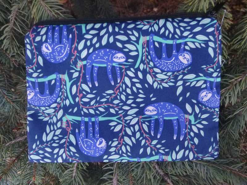 sloth zippered bag for makeup accessories
