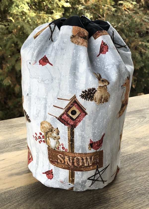 Animals in snow drawstring bag for knitting