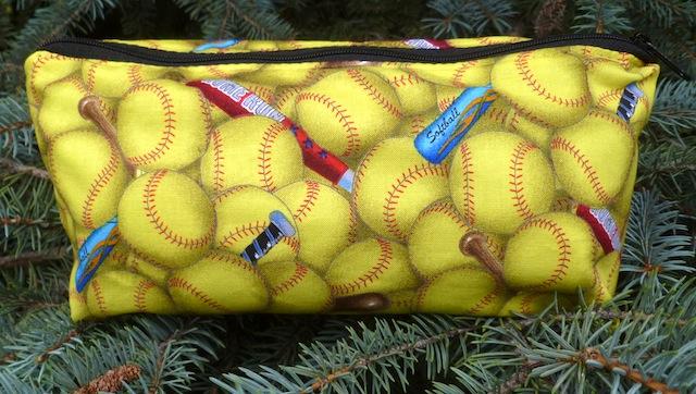 softball flat bottom zippered pouch gift for softball player