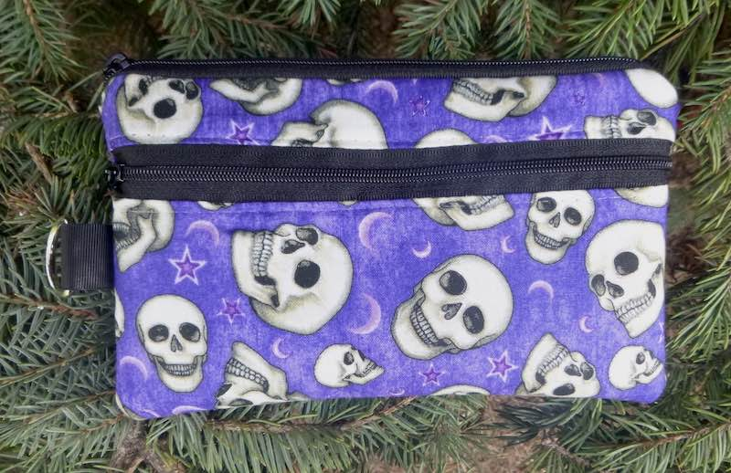 skulls on purple mini wallet iPhone wallet