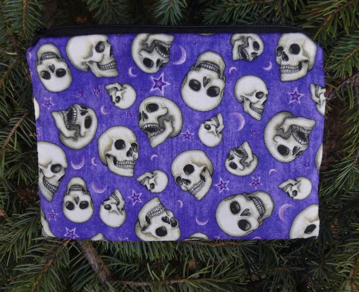 skulls moon stars on purple zippered bag makeup accessories