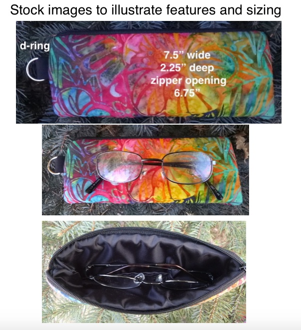 boutique style glasses case with d ring