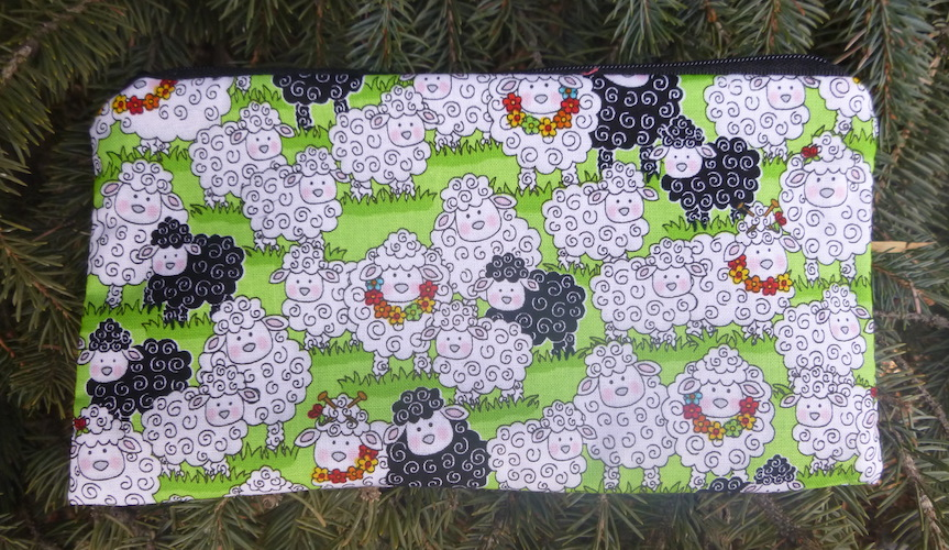 sheep knitting notions pouch pencil case