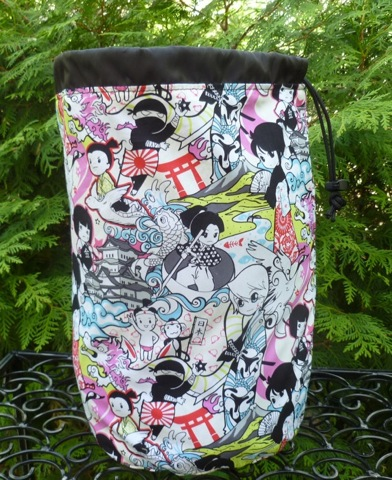 large drawstring knitting bag