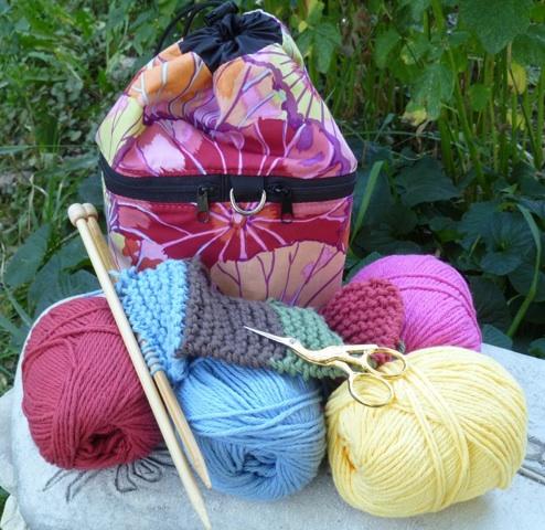 unusual drawstring knitting bag