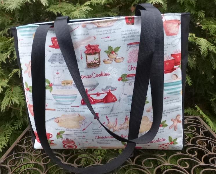 Tote bag for carrying Christmas baking