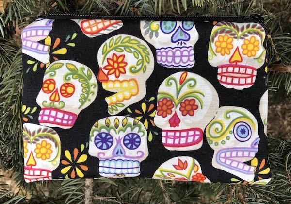 Sugar skulls small zippered pouch