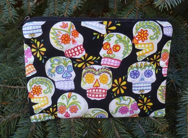 sugar skulls Day of the Dead zippered bag