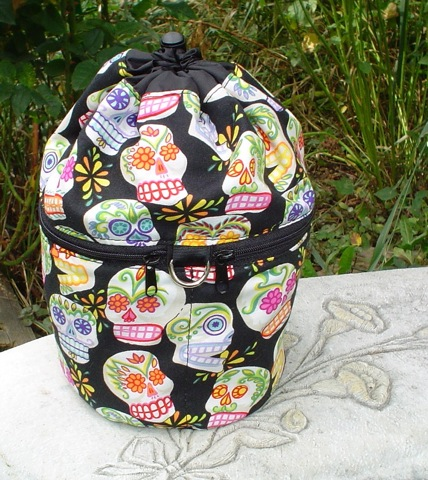 Day of the Dead sugar skulls knitting project bag