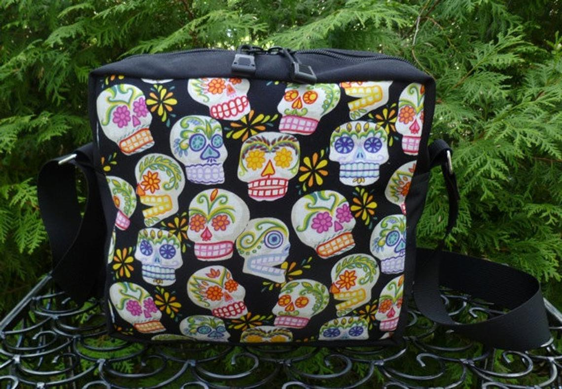 sugar skulls Day of the Dead zippered cross body shoulder bag