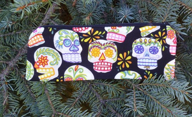 sugar skulls Day of the Dead pencil case, crochet hook pouch, tampon pouch