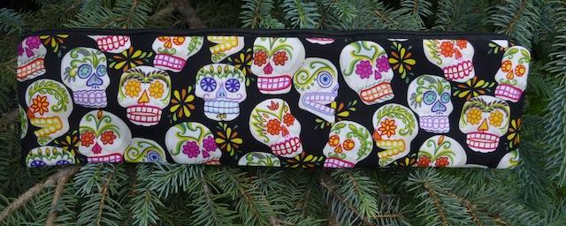 Day of the Dead Sugar Skulls long case for knitting needles
