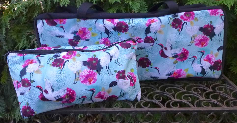 Japanese cranes and flowers soft tote for mahjong racks and bag for tiles