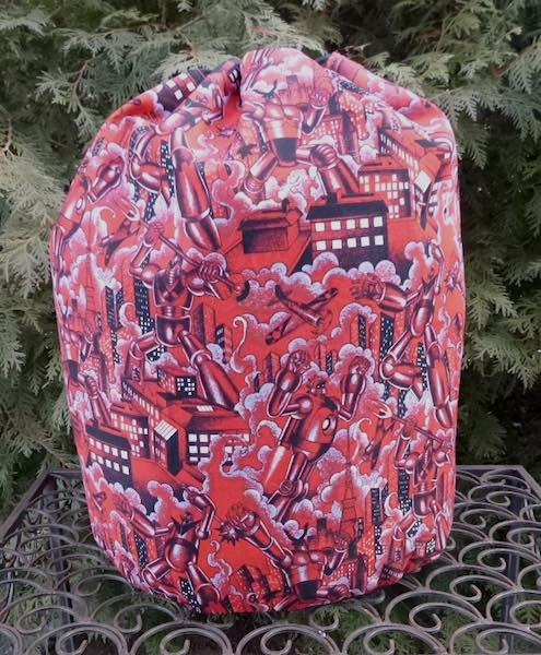 Robots large knitting project bag for blankets or sweaters