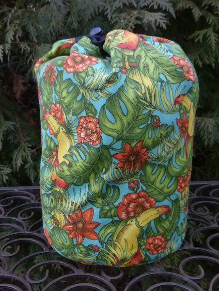 Toucan drawstring bag for knitting crochet Scrabble Rummikub Mahjong tiles