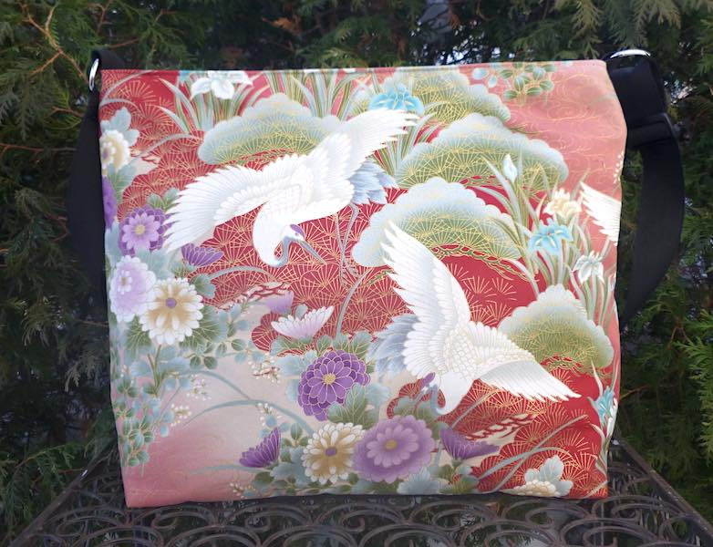 Japanese cranes large purse or travel bag with pockets and key clip