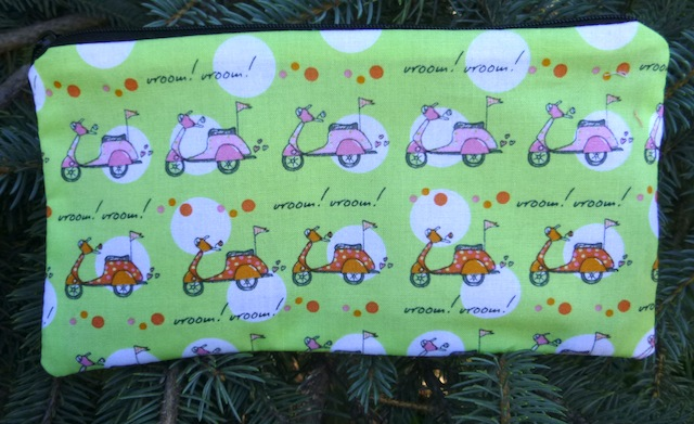 pencil case with Vespa style scooters