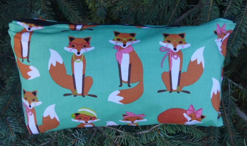 foxes flat bottom bag for mahjong tiles art supplies cosmetics