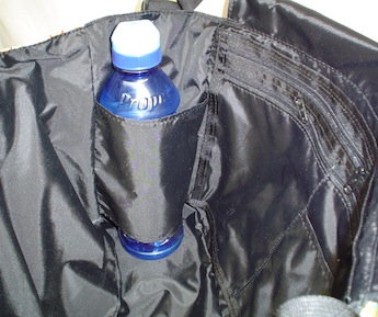messenger bag with water bottle