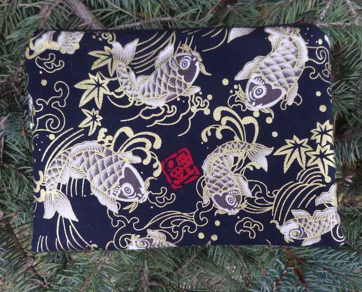 Japanese koi on red zippered makeup bag
