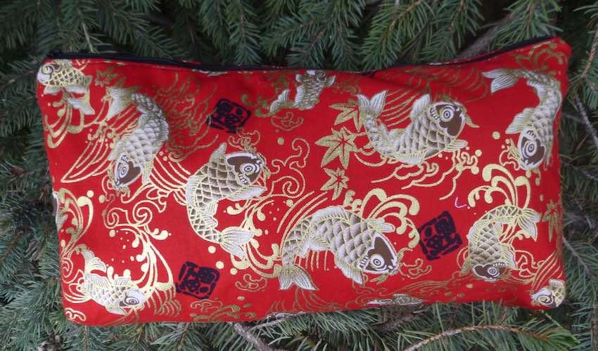 Japanese koi on red bag to hold mahjong tiles makeup toiletries knitting