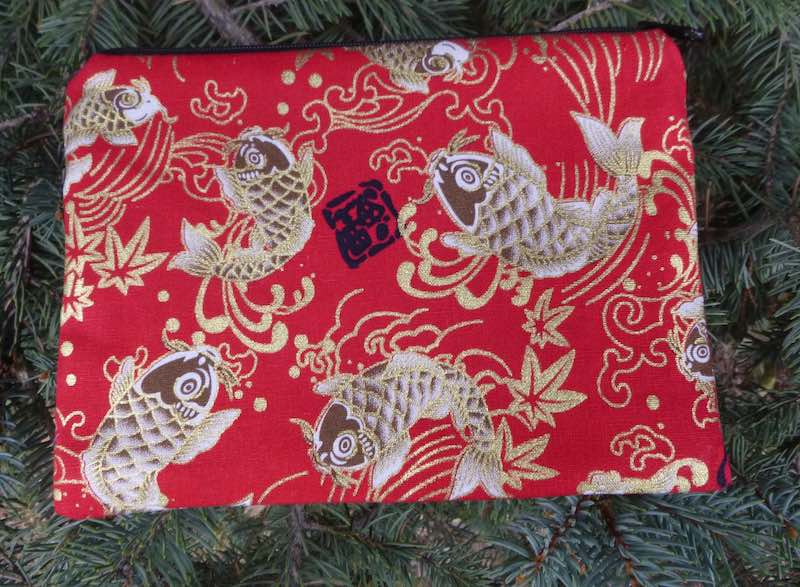 koi on red zippered makeup bag