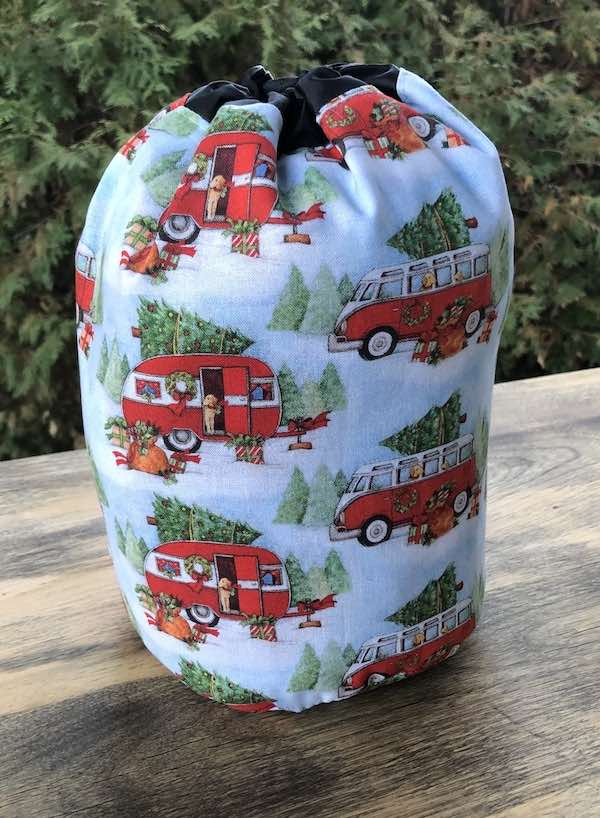 winter camping round drawstring bag for knitting or crochet