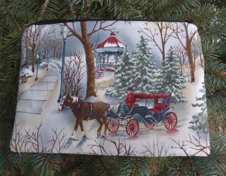 Winter carriage ride in the snow zippered reusable gift bag