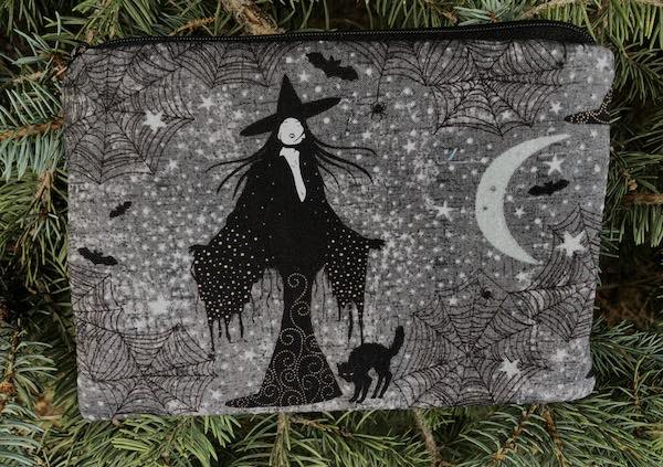 witch and black cat zippered accessory makeup bag
