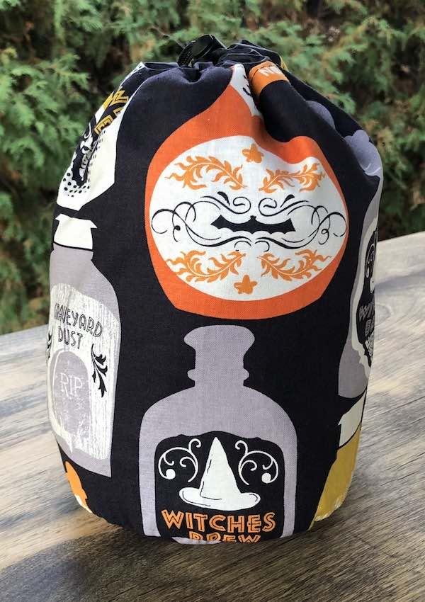 Witches potion bottles drawstring bag