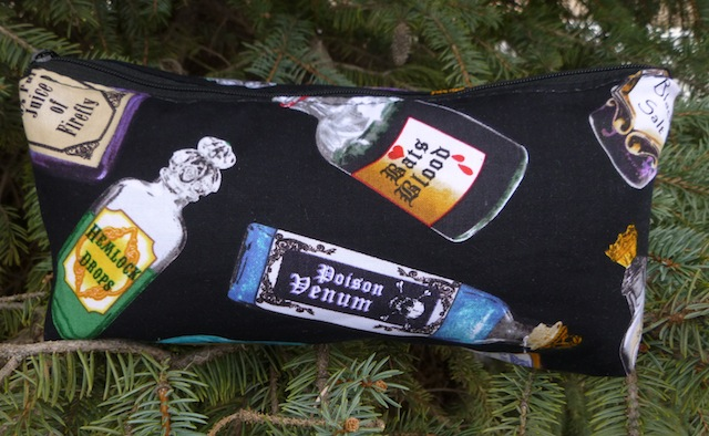 witches perfume flat bottom makeup bag