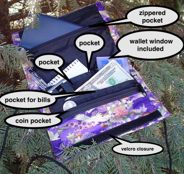 wallet on a string with pockets