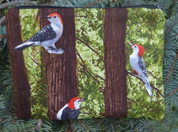 woodpecker zippered bag
